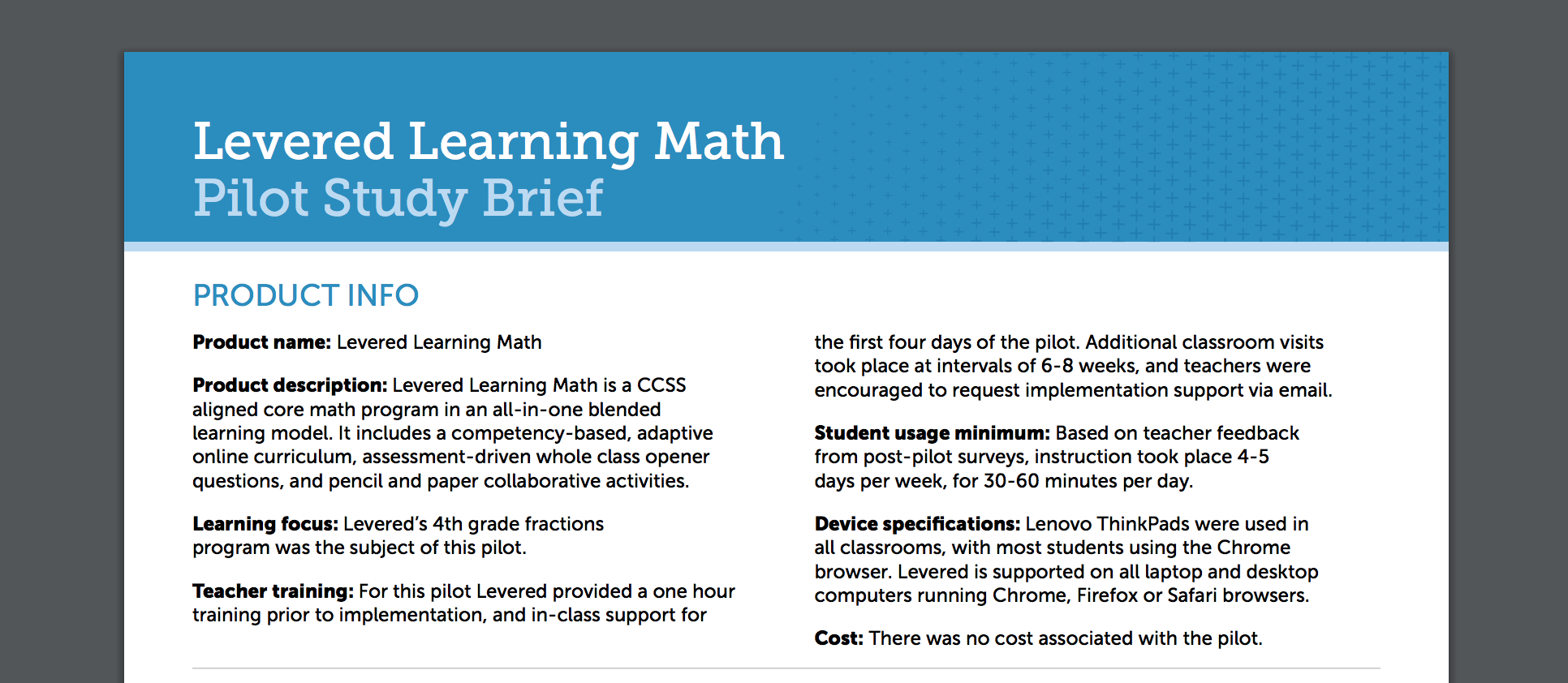 Digital Promise Publishes Teacher-led Brief on Levered's Math Program in Classrooms